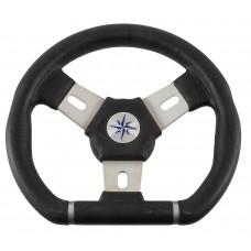 Рулевое колесо ELBA SPORT обод черный, спицы серебряные д. 280 мм