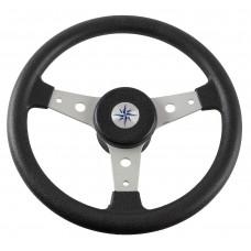 Рулевое колесо DELFINO обод черный, спицы серебряные д. 340 мм