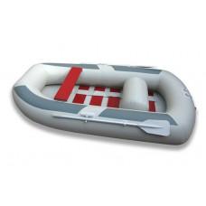Лодка надувная ПВХ Комфорт 300, серая, пол реечный деревянный