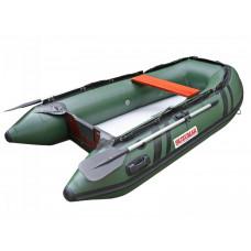 Лодка надувная ПВХ Suzumar DS265KIB, зеленая, пол надувной высокого давления
