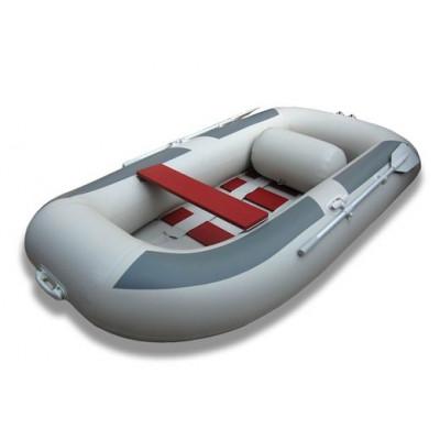 Лодка надувная ПВХ Комфорт 270, серая, пол реечный деревянный