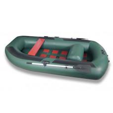 Лодка надувная ПВХ Комфорт 300, зеленая, пол реечный деревянный